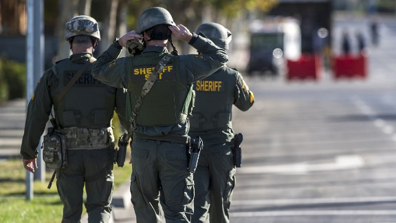 Merced County Sheriff SWAT members enter the University of California, Merced campus after a reported stabbing on Wednesday.
