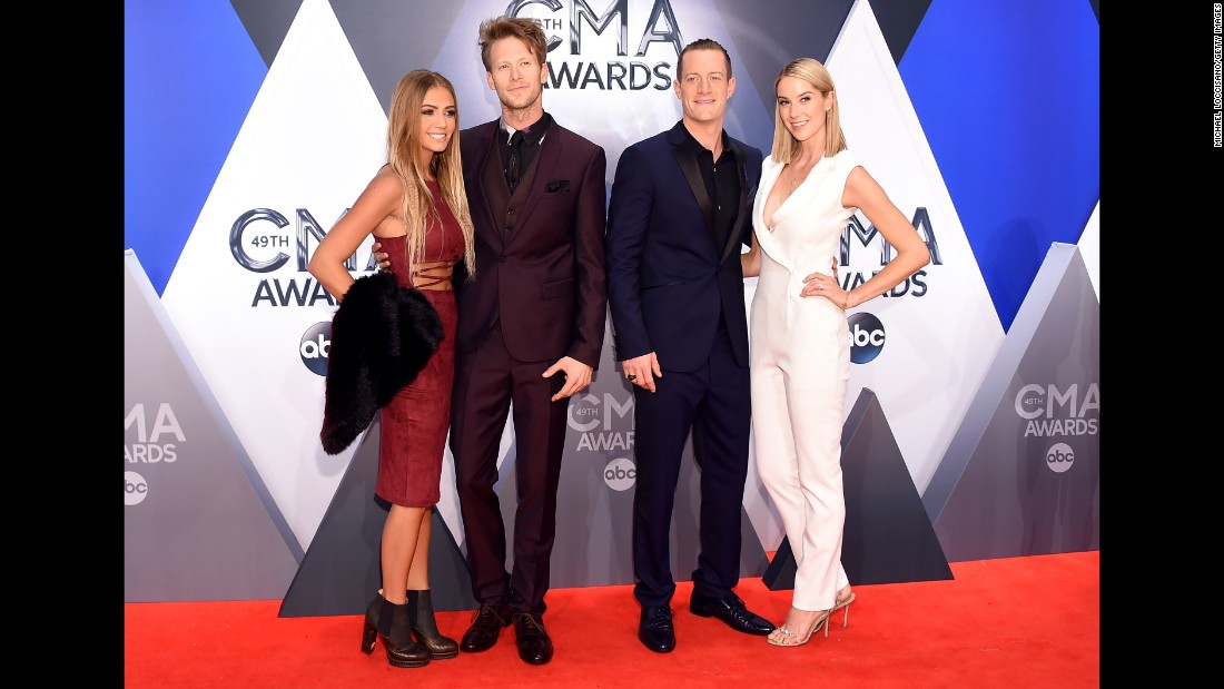 Brittney Marie Cole, Brian Kelley and Tyler Hubbard of Florida Georgia Line, and Hayley Stommel