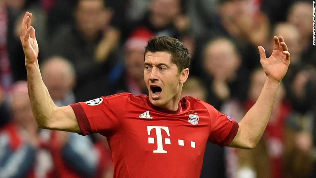 Lewandowski scores the opener in Bayern Munich's 5-1 thrashing of Arsenal in the Champions League, putting the Bavarian side top of Group A.