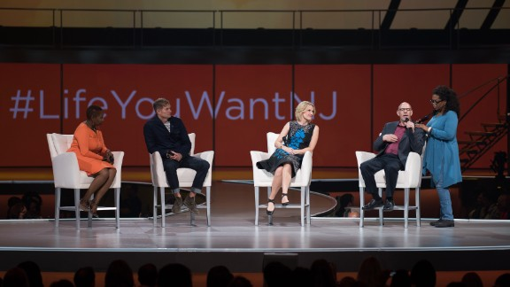 """Oprah spent much of 2014 touring the country as host of her """"The Life You Want Weekend,"""" public events packed with motivational speakers. Here she appears with Iyanla Vanzant, Rob Bell, Elizabeth Gilbert and Mark Nepo in September 2014 in Newark, New Jersey."""