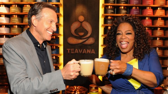 In April 2014 Oprah appeared with Howard Schultz, CEO of Starbucks, to launch her Teavana Oprah Chai Latte at a Teavana Fine Teas Bar in New York City. For each Oprah Chai Tea product sold, Starbucks promised to make a donation to her foundation to benefit educational opportunities for youth.