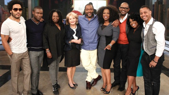 """Oprah drew good reviews for her role in Lee Daniels' film drama, """"The Butler."""" Here she appears with some members of the cast for an August 2013 appearance on ABC's """"The View."""" From left: Lenny Kravitz, David Oyelowo, Whoopi Goldberg, Barbara Walters, Daniels, Winfrey, Forest Whitaker, Sherri Shepherd and Cuba Gooding Jr."""