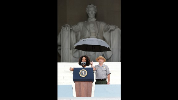 """Oprah Winfrey speaks during the Let Freedom Ring ceremony on August 28, 2013, in Washington, D.C. The event commemorated the 50th anniversary of Dr. Martin Luther King Jr.'s """"I Have a Dream"""" speech and the March on Washington for Jobs and Freedom."""