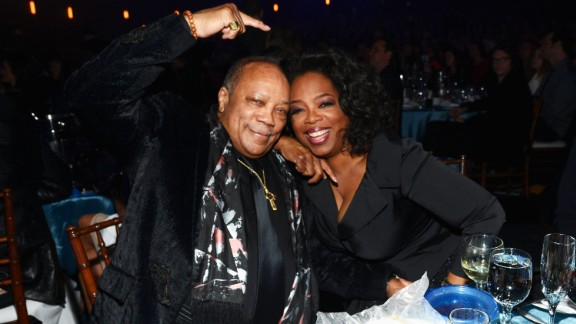 Oprah joins inductee Quincy Jones for the 28th Annual Rock and Roll Hall of Fame induction ceremony on April 18, 2013, in Los Angeles.