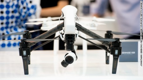 DJI's Inspire drone is seen at the 35th GITEX Technology Week at Dubai World Trade Centre on October 18, 2015 in Dubai, United Arab Emirates.
