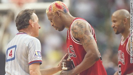 26 May 1997:  Forward Dennis Rodman of the Chicago Bulls argues with an official during a playoff game against the Miami Heat at the Miami Arena in Miami.