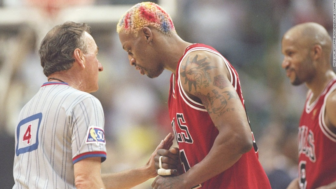 Rodman's fashion sense took on a new realm while playing for the three-time champion Chicago Bulls from 1995 to 1998.