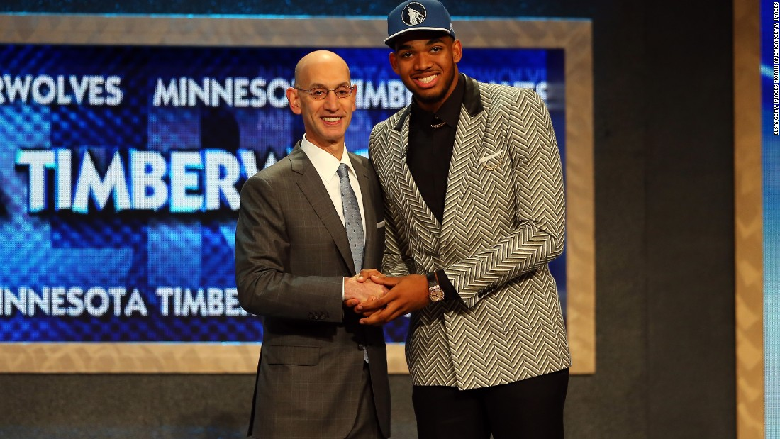 Karl-Anthony Towns (right, with league commissioner Adam Silver) requested a one-of-a-kind outfit to wear to the 2015 NBA Draft.