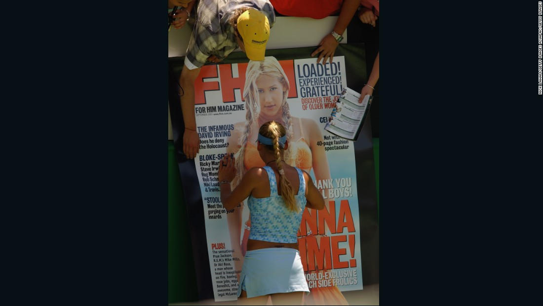 "Kournikova signs a giant billboard of herself at the Australian Open in 2003.<br />""I remember back in those days, every magazine cover, every newspaper's back pages, would quite often have photos of her,"" said PR and marketing consultant for pro-athletes, <a href=""http://sixof1pr.com/"" target=""_blank"">David Skilling. </a><br />""So for tennis, and women's tennis, that was quite an achievement at the time."""