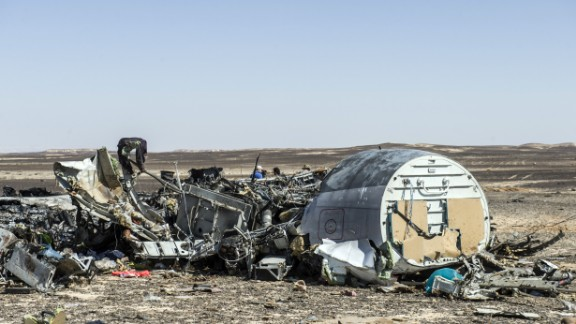 Debris belonging to the A321 Russian airliner are seen at the site of the crash in Wadi al-Zolomat, a mountainous area in Egypt