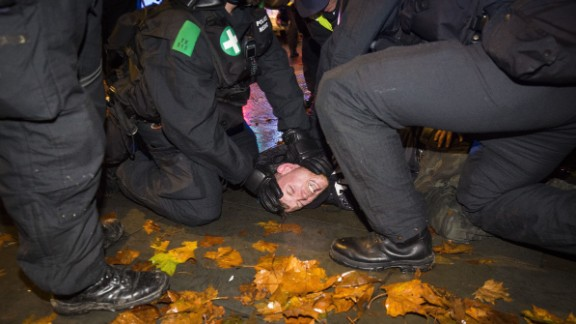 Fifty arrests were made during the protest, police said.