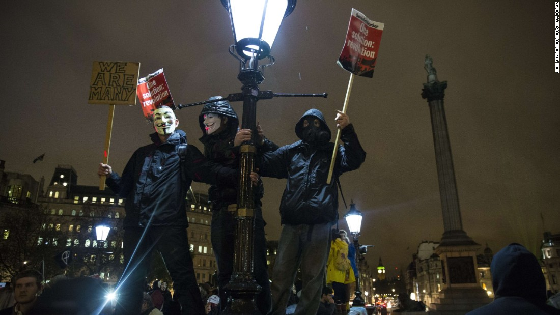 The Million Mask March moved through central London past many of the British capital's landmarks.