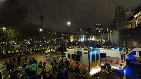 Police and protesters clash at the protests. About 2,000 police officers were called into action.