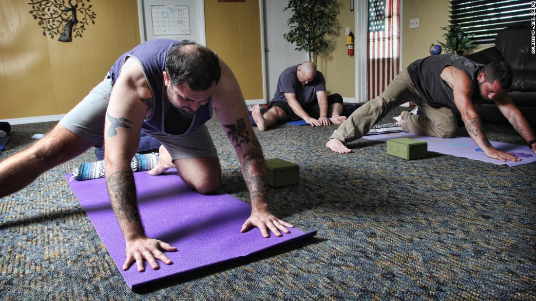 """By ... experiencing and controlling physical sensations and connecting breath and movement, participants maintain attention within their bodies and remain present on their mats, "" Santas said of practicing yoga postures."