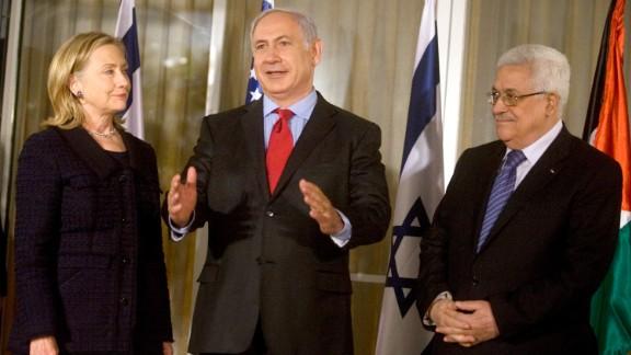Clinton, Netanyahu and Palestinian President Mahmoud Abbas meet at Netanyahu's residence in Jerusalem on September 15, 2010.   Netanyahu and Abbas were deadlocked in peace negotiations over Israeli settlement building.