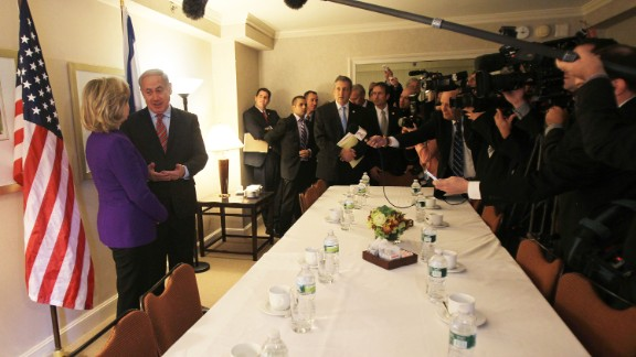 """Netanyahu and Clinton speak with the media prior to a meeting in New York on November 11, 2010.   Clinton vowed to find a """"way forward"""" on the stalled Middle East peace process as they began their meeting."""