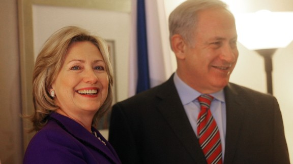 Israeli Prime Minister Benjamin Netanyahu (R) and U.S. Secretary of State Hillary Rodham Clinton speak with the media prior to their meeting November 11, 2010 in New York City. The two were expected to discuss the rift over settlements in Arab East Jerusalem and other Mideast peace issues.
