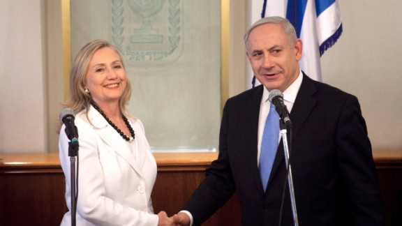 Netanyahu meets with Clinton in Jerusalem on July 16, 2012. Clinton was there to discuss diplomacy with Iran, Syria and Egypt in addition to peace talks regarding the Middle East.