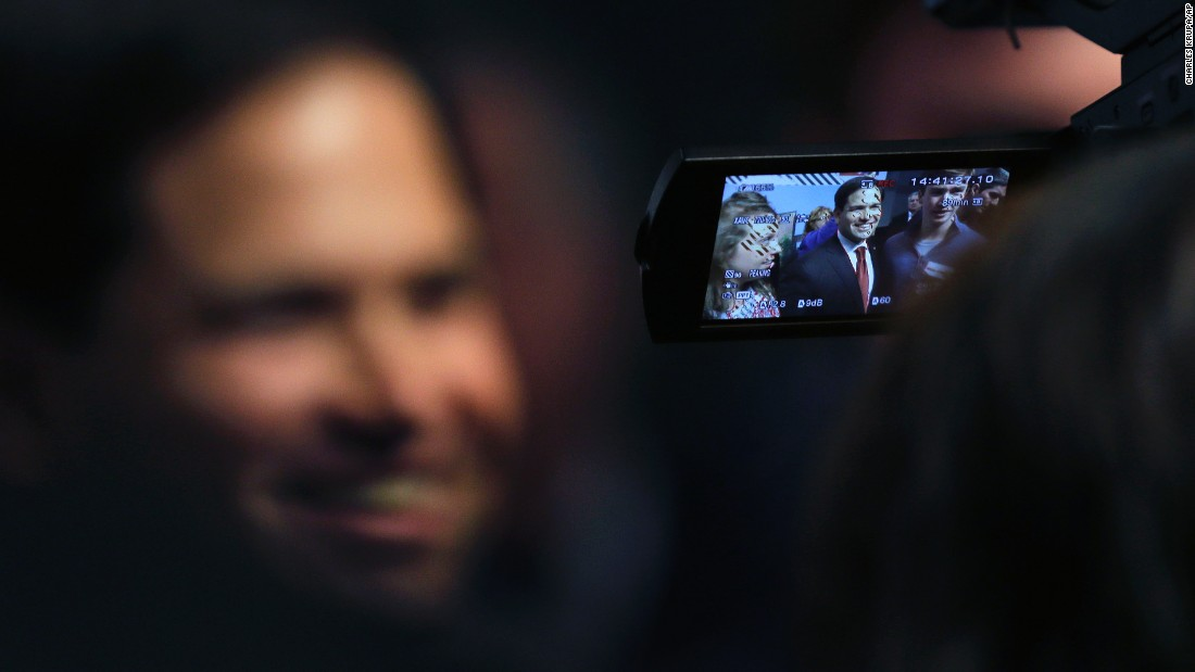 U.S. Sen. Marco Rubio, a Republican presidential candidate, is seen through a cameraman's viewfinder during a campaign event in Manchester, New Hampshire, on Wednesday, November 4.