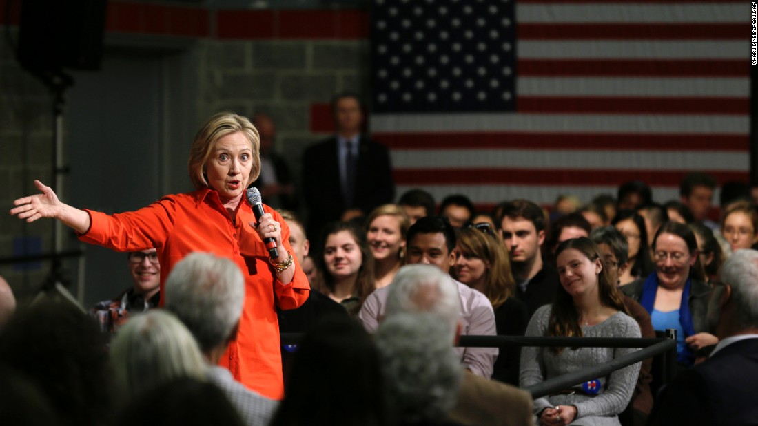 Democratic presidential candidate Hillary Clinton speaks during a town-hall meeting in Grinnell, Iowa, on Tuesday, November 3.