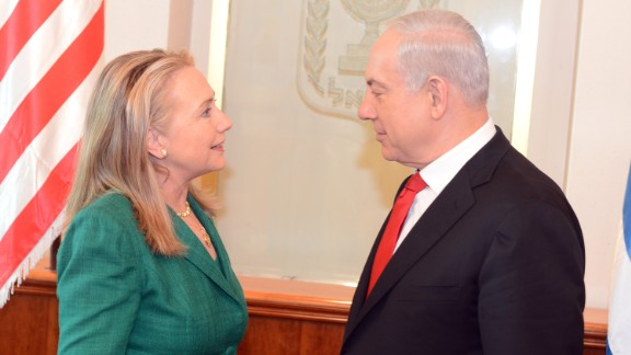 Then-U.S. Secretary of State Hillary Clinton meets with Israeli Prime Minister Benjamin Netanyahu in Jerusalem on November 21, 2012.  Clinton had joined international efforts to broker a ceasefire amid Israeli airstrikes and Hamas rocket attacks.