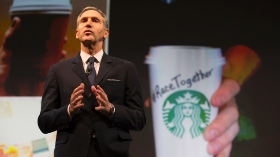 """In March, Starbucks received mix responses to its """"Race Together"""" campaign. The company ran full-page ads in The New York Times and USA Today announcing the initiative. Starbucks held open forums for workers to talk about race, and baristas in cities where forums were held began writing the slogan on customers' cups, aiming to spark a dialogue."""