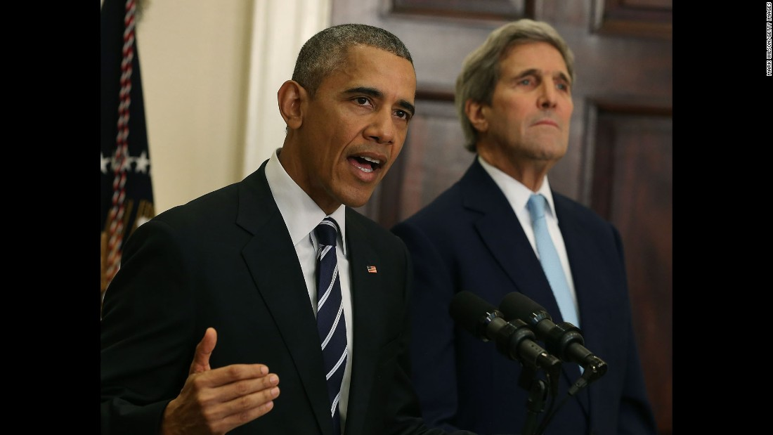 "President Barack Obama, with Secretary of State John Kerry, <a href=""http://www.cnn.com/2015/11/06/politics/keystone-xl-pipeline-decision-rejection-kerry/"" target=""_blank"">announces his decision</a> to reject the proposed Keystone XL pipeline on Friday, November 6. ""America is now a global leader when it comes to taking serious action to fight climate change, and frankly, approving this project would have undercut that leadership,"" Obama said."