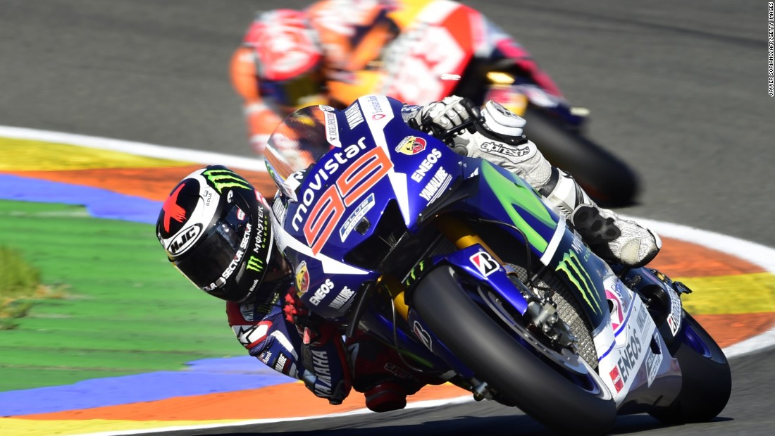 Here Lorenzo is pictured battling two-time champion Marquez for top spot in the Valencia MotoGP.