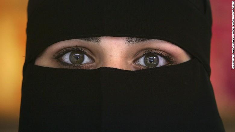 Woman wearing a niqab.
