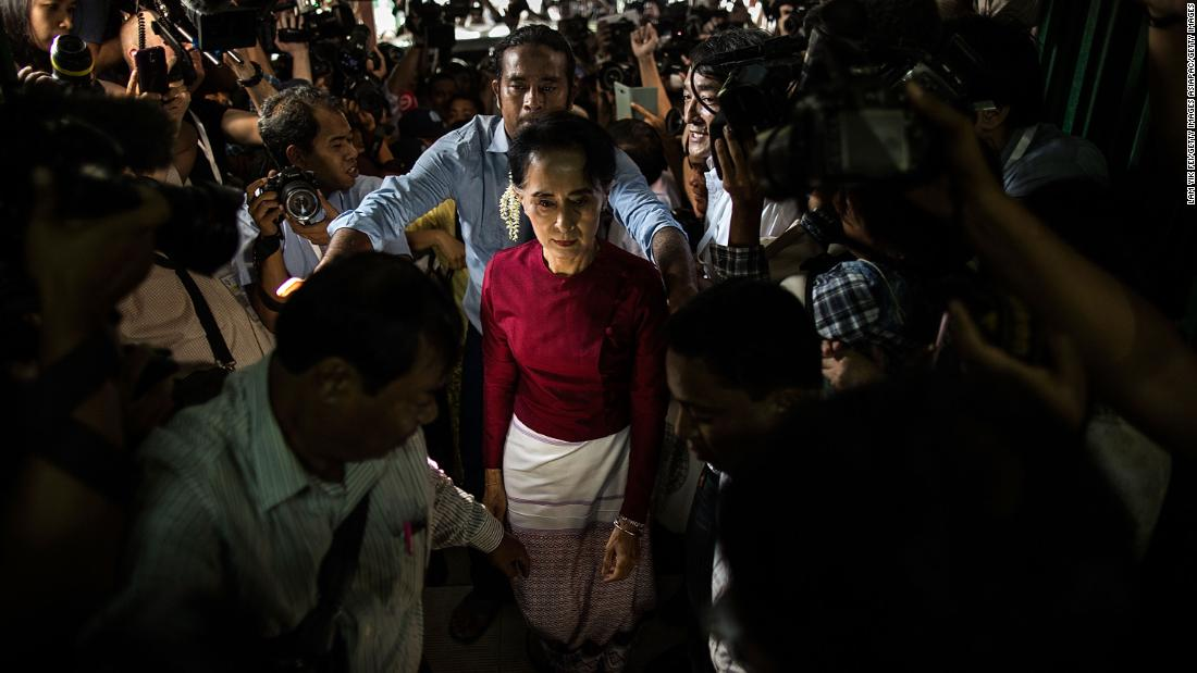 Aung San Suu Kyi, the Burmese opposition politician and Nobel Peace Prize winner, arrives at the polling station to cast vote during Myanmar's freest election in decades on November 8, 2015. Known worldwide for her leadership and commitment to human rights in Myanmar, she was kept under house arrest for years by the Asian country's military rulers. Take a look back at her triumphs and struggles: