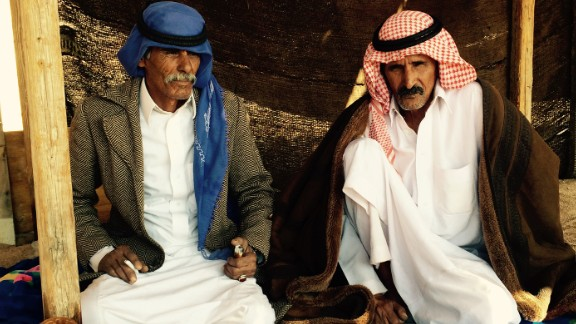 Sulieman El Meharwel of the Mesaied tribe, left, and Sulieman Abu Swailam of the Huwaitat tribe meet with other tribal leaders in Sinai.
