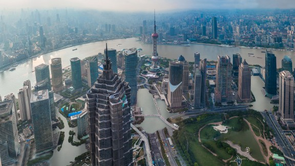 An artist's impression of how the Chinese city of Shanghai could look if temperatures rise by just two degrees Celsius. The following images show were provided by Climate Central as part of report released November 8, 2015.