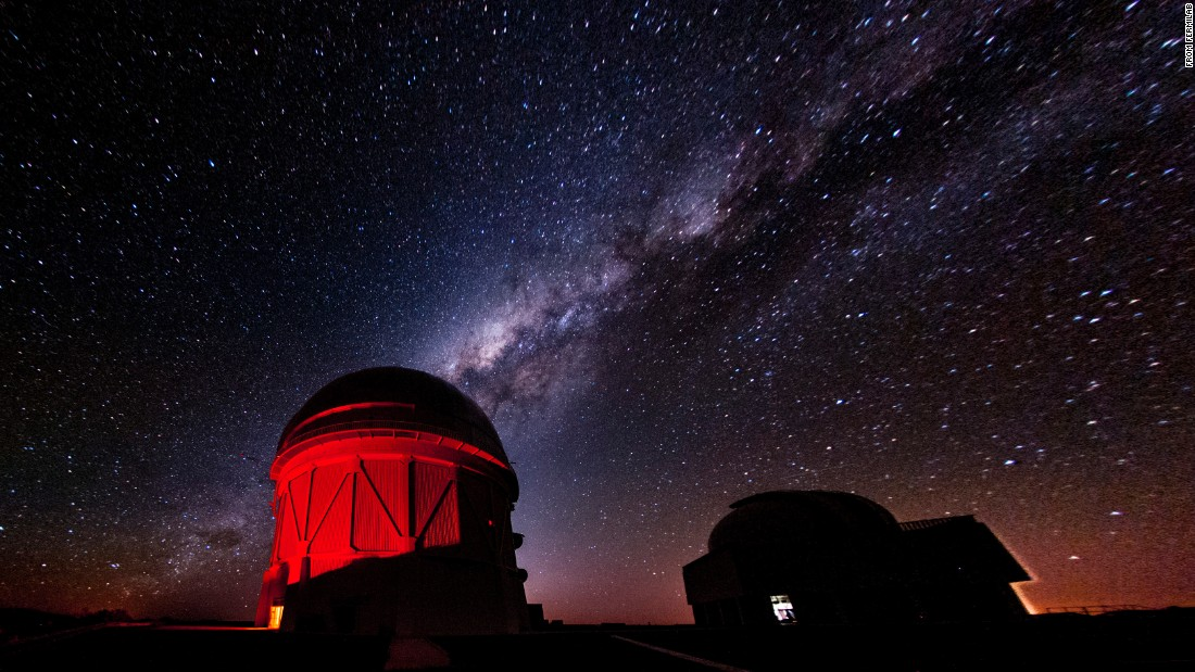 The Dark Energy Survey experiment is situated high on a mountaintop in Chile.  It uses the 4-meter wide Victor Blanco Telescope to image galaxies and supernovae billions of light years away to understand the expansion history of the universe and to predict its future.