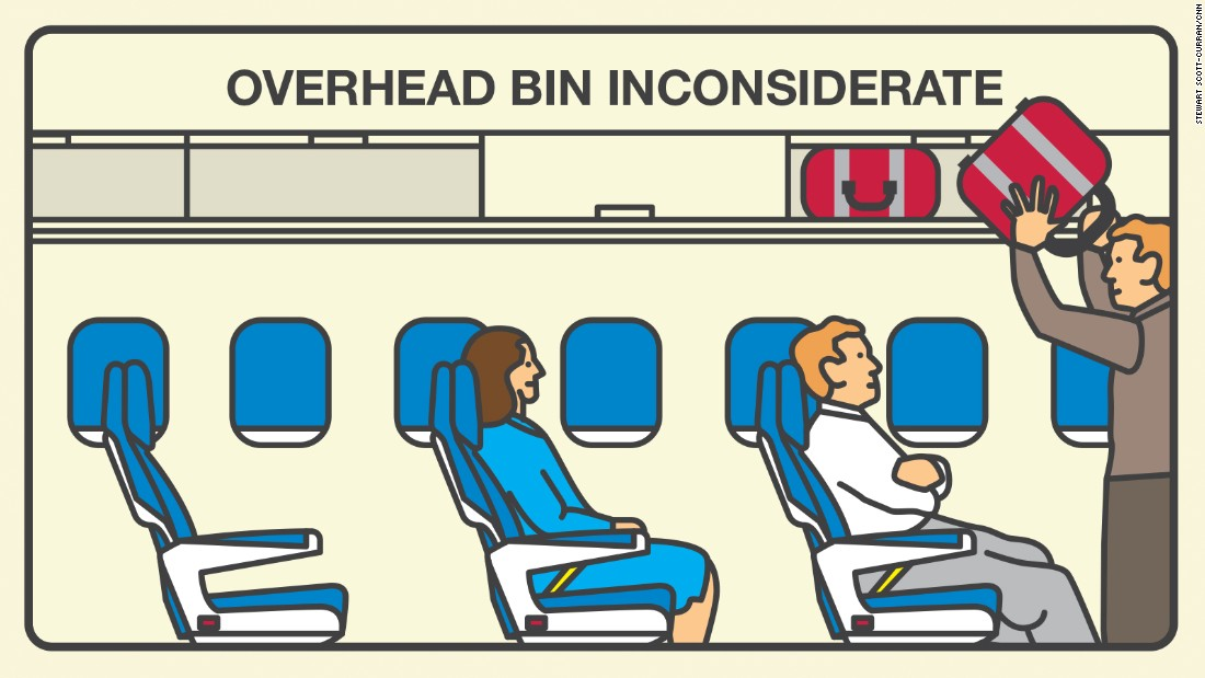 The inconsiderate overhead bin user stows his bag in the first available spot. That kind of behavior annoys 32% of fliers.