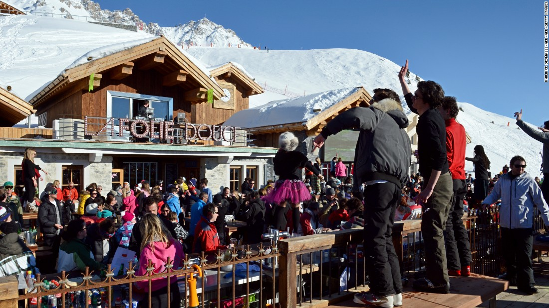 "People party on an outdoor dance floor as artists perform during a food/clubbing event at <a href=""http://www.lafoliedouce.com/en/folie-douce-spots/meribel-courchevel-en.html"" target=""_blank"">La Folie Douce</a> in Meribel, France. La Folie's Fruitiere restaurant is where chef Franck Mischler creates a range of signature dishes."