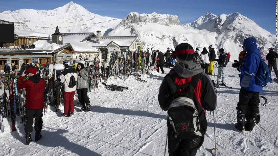 Skiers approach La Folie Douce, which offers a range of local cheeses and fine French wines.