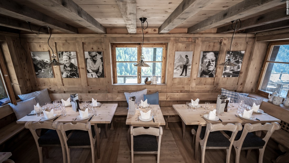 Chez Vrony's cosy wooden dining room is a perfect place to hunker down when the snow falls outside.
