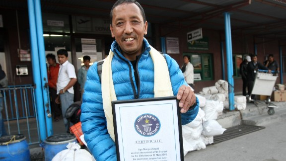 Nepalese climber Apa Sherpa is the joint world record for most successful climbs of Mount Everest with 21 ascents. Another Sherpa, Phurba Tashi, is the other joint record holder.