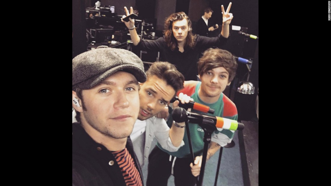 "Niall Horan, left, and the rest of One Direction take a selfie on Monday, November 9. ""We're happy that 'end of the day' is out today and the album is only 4 days away... Buzzin,"" <a href=""https://www.instagram.com/p/93uYqpMyMz/"" target=""_blank"">Horan said on Instagram.</a>"