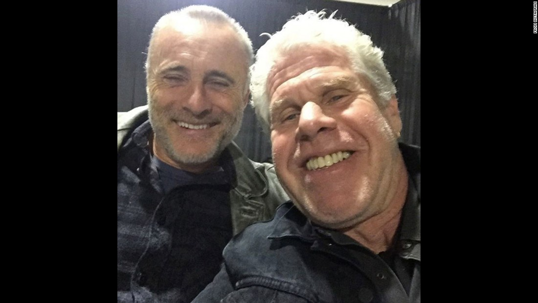 "Ron Perlman, right, takes a photo with fellow actor Tim V. Murphy on Sunday, November 8. ""Awesome reuniting with dear old pal @timvmurphy, one 'o the best!"" <a href=""https://www.instagram.com/p/91odWRonq7/"" target=""_blank"">Perlman said on Instagram.</a>"