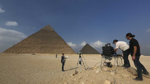 Scientists using Infrared techonology at the Giza pyramids in Egypt