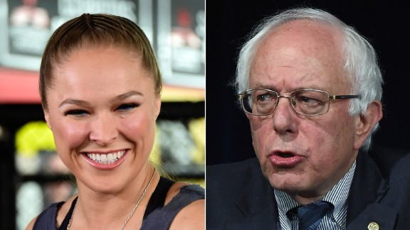 """UFC champion Ronda Rousey endorsed Sanders for president.  """"I'm voting for Bernie Sanders, because he doesn't take any corporate money,"""" Rousey told Maxim magazine. """"I don't think politicians should be allowed to take money for their campaigns from outside interests."""""""