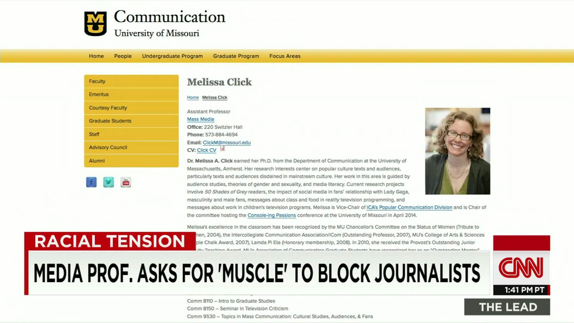 Media prof. asks for \'muscle\' to block student journalist - CNN Video
