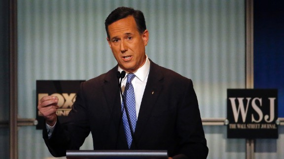 """""""The middle of America is hollowing out,"""" Santorum said. """"All you have to do is listen to the last Democratic debate and you would think there was a Republican president in office the way they complained about how bad things are in America and how the middle -- the middle of America is hollowing out."""""""