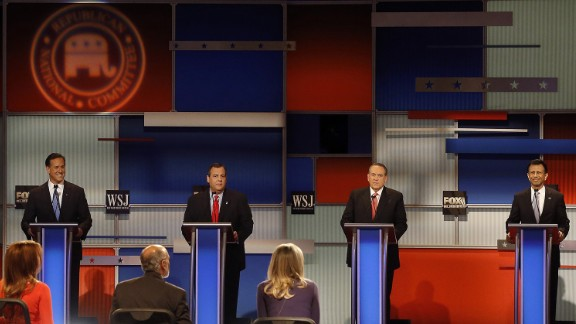 Four of the lower-polling Republican candidates had a separate debate earlier in the evening. From left are former U.S. Sen. Rick Santorum, New Jersey Gov. Chris Christie, former Arkansas Gov. Mike Huckabee and Louisiana Gov. Bobby Jindal.