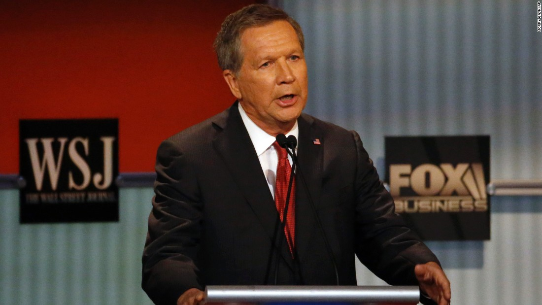 """I want everybody here to know, when I was Budget Committee chairman in Washington, I stepped on every toe in that town, and we got to a balanced budget and we had enormous job growth,"" Kasich said. ""And as governor of Ohio, we went from 350,000 lost jobs to a gain of 347,000 jobs."""
