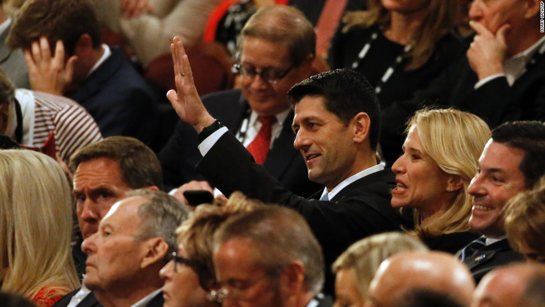 New House Speaker Paul Ryan waves from the audience.