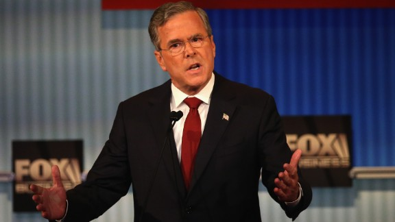 """Bush answers a question during the debate, which was hosted by Fox Business in cooperation with the Wall Street Journal. During the debate, which focused on economic matters, Bush went on the offensive. """"Hillary Clinton has said that Barack Obama's policies get an A. Really?"""" Bush asked. """"One in 10 people right now aren't working or have given up altogether, as you said. That's not an A. One in seven people are living in poverty. That's not an A. One in five children are on food stamps. That is not an A. It may be the best that Hillary Clinton can do, but it's not the best America can do."""""""