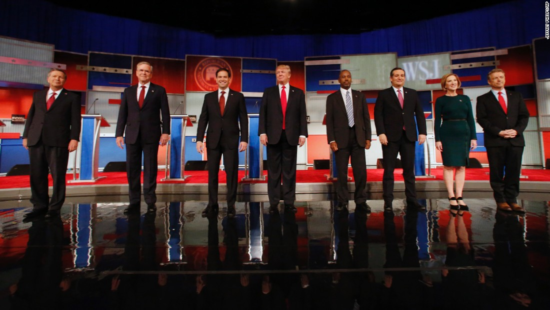 Republican presidential candidates participate in a debate Tuesday, November 10, in Milwaukee. From left are Ohio Gov. John Kasich, former Florida Gov. Jeb Bush, U.S. Sen. Marco Rubio, Donald Trump, Ben Carson, U.S. Sen. Ted Cruz, Carly Fiorina and U.S. Sen. Rand Paul.