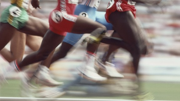 24 Sep 1988:  Ben Johnson of Canada takes the lead in the 100 Metres semi final at the 1988 Olympic Games in Seoul, South Korea. \ Mandatory Credit: Steve  Powell/Allsport